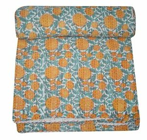 New Indian Cotton Hand Block Printed Twin Kantha Quilt Coverlet Flower Bedspread