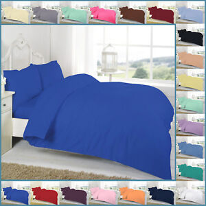 Plain Dyed Duvet Cover Set With Pillowcase Bedding Single Double King Super easy