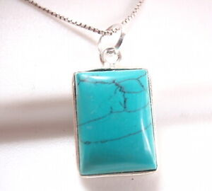 Turquoise Necklace Basic Rectangle 925 Sterling Silver Imported from India New