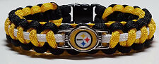 Pittsburgh Steelers Black, White, & Gold Handmade Paracord Bracelet or Lanyard
