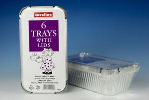 Caroline Foil Tray With Lid Pack 6, 23oz, 656cc, 93 x 184 x 49mm