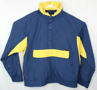 Vtg BLACK ICE Men's Navy Yellow Hooded Windbreaker Pullover Jacket Size Medium