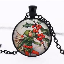 Holly Fairy Christmas,fairy Cabochon Tibetan Black Glass Chain Pendant Necklace