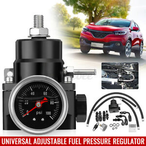 Universal Adjustable Fuel Pressure Regulator Set AN 6 Fitting &100 Psi Blac