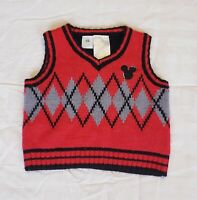 Walt Disney Baby Red Sweater Vest - Mickey Mouse - Size 0-3 months
