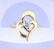 1/3 ct DIAMOND SOLITAIRE HEART RING SOLID 14 k GOLD 2.9 g SIZE 5