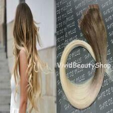 10x Ombre Remy Tape In Skin Weft Human Hair Extensions Dark Bleach Blonde 18/613