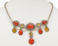 "Silver Necklace 17""L plus 3"" Ext. Carolyn Pollack Carnelian & Citrine Sterling"