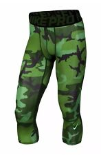 Nike Pro Combat Hypercool Men's 3/4 Camo Compression Tights 848863 Small Green