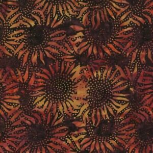 "43"" Remnant Hoffman Batik Bali Chops Sunflower Nightshade Batik Cotton Fabric"