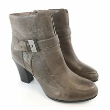 GEOX Size 37/ UK4 Ladies Brown Leather Ankle Zip Up Buckle Heeled Booties Boots