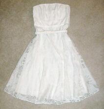 White House Black Market Chic Ivory Fitted Strapless Chiffon Bride Tea Dress-4