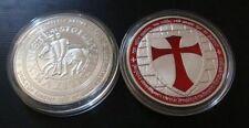 Chevaliers du Temple, Templiers croisés ARGENT ARGENT Médaille de couleur color
