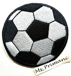 Embroidered Football Patch Soccer Pitch Kit Play Iron /Sew On Dress Badge 7cm