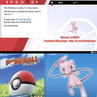 Pokemon Sword/Shield MEW [Digital Item] Mew from Pokeball Plus. Timid Lv 1