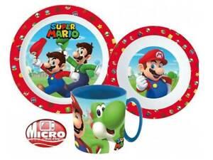 Super Mario  Kids 3 pcs Dinner Set Plate Bowl Mug  New