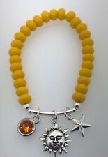Yellow Glass 8 x 5mm Bead Bracelet SUN FACE, STAR Wicca, Pagan, Astrology Charms