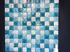 """Crackle Ocean Mist aqua teal crackled glass tile 1""""x1"""""""