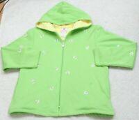 Quacker Factory Green Hooded Sweatshirt Long Sleeve Woman's Top Cotton Poly M13