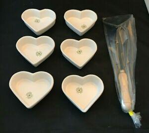 William Sonoma IDG Heart Shaped Ramekins Creme Brûlée Iron Set 6 NIB