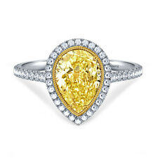 Certified 5.20ct Pear Yellow Cut Diamond Halo Engagement 14K White Gold Ring