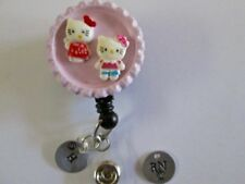 ID BADGE RETRACT REEL MAGNET OR CLIP,HELLO KITTY,ENGRAVE,MEDICAL,ER,RN,NURS