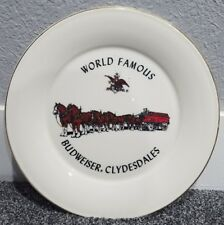 "Vintage World Famous Budweiser Clydesdales Ceramic 10 3/4"" Gold Rimmed Plate"