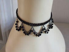 Divine Black Beaded Goth Choker Chain Necklace Magnificent & Elegant