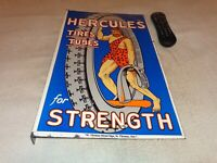 "VINTAGE ""HERCULES TIRES & TUBES"" 20"" PORCELAIN METAL GASOLINE OIL DS FLANGE SIGN"