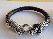 DRAGON Leather Bracelet Wristband Cuff Men's BLACK, 8-1/2 inch with Hinged Clasp