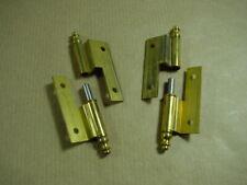 1 Paar ONI Möbelbänder Messing Bandlänge 50 mm, links/rechts, gekröpft.
