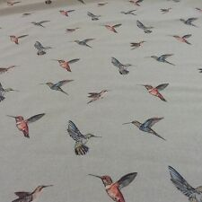 Hummingbirds Linen  Duckegg Grey Linen/Cotton Curtain/Craft Fabric