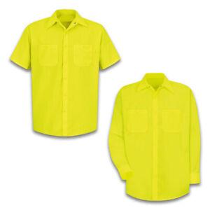 Red Kap Men's Enhanced Visibility Industrial Work Shirt Fluorescent Neon Uniform
