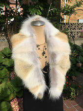 REDUCED PRICE COYOTE FUR COLLAR MINI STOLE SHAWL WRAP Made in the USA