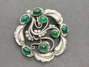 Georg Jensen Sterling Silver Brooch #159 with Green Agate Stones (CGM019497)