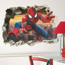 Wandtattoo Kinderzimmer 3D Spiderman Marvel Wandsticker Junge Wandaufkleber