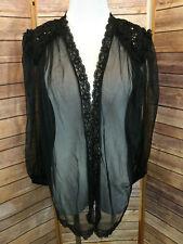 Vtg E Bole Black Sequin Open Front Robe Semi Sheer Teddie One Size Shoulder Pads
