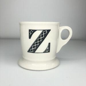 Anthropologie Monogram Mug Letter 'Z' Stoneware White Ivory Black Lettering