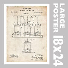 LOUIS PASTEUR BREWING BEER PASTEURIZATION 1873 US PATENT PRINT 18X24 POSTER GIFT