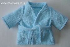 BLUE TOWELLING DRESSING GOWN -FITS TEDDY BEARS 16 INCH/ 40cm TALL– MADE IN UK