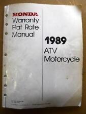 Honda Warranty Flat Rate Manual Atv Motorcycle 1989