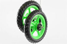 "TWO 10""(250mm ) GREEN MAG WHEELS WITH PU TYRES FOR SCOOTERS,GO KARTS,TROLLEYS"