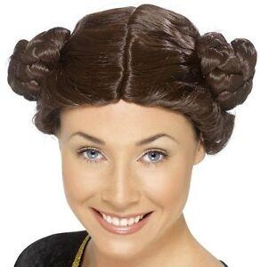 Star Wars Princess Leia Brown Side Buns 1980s Fancy Dress Wig NEW P1505