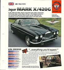 JAGUAR MARK X 10 / 420G SPEC SHEET/Brochure:1965,1966,1967,1968,1969,1970, 420 G