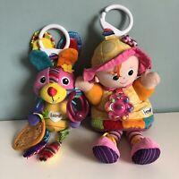 Lamaze My Friend Emily Doll & Bella Bunny Pram Toys Clip Rattle Squeaks Crinkle