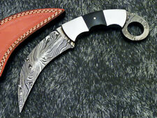"NEW CUSTOM HAND FORGED DAMASCUS 10"" KARAMBIT KNIFE - BULL HORN HANDLE- WD-9167"