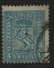 Norway Stamps 1867 SG28 4sk Greenish Blue Cat £13.00    Fine Used