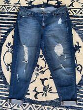 New LANE BRYANT $80 Destructed Denim Capri Distressed Crop Jeans Plus Size 24W