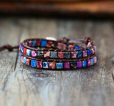 Crystal Bead Friendship Bracelet Wrap, Surf Beach Purple Chakra Leather Agate ED
