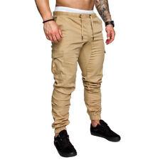 Mens Urban Jogger Cargo Straight Leg Slim Fit Trousers Casual Pencil Pants US